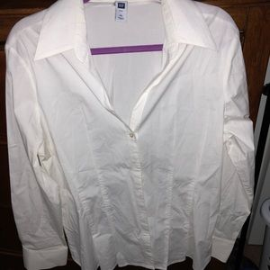 White pleated button down